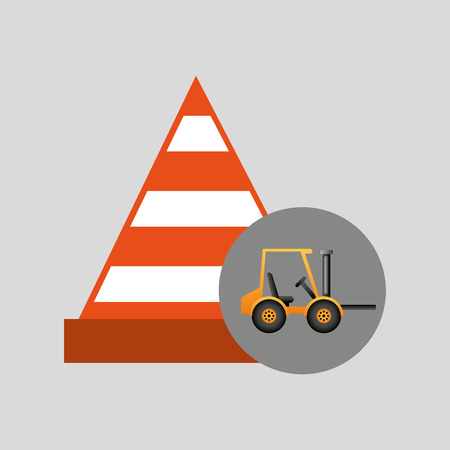bulldoze: truck mixer concrete warning icon graphic vector illustration
