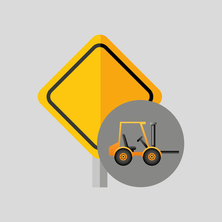 excavator wheeled machinery sing tool vector illustration