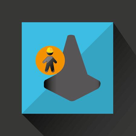 hoisting: man silhouette helmet and cone design graphic vector illustration