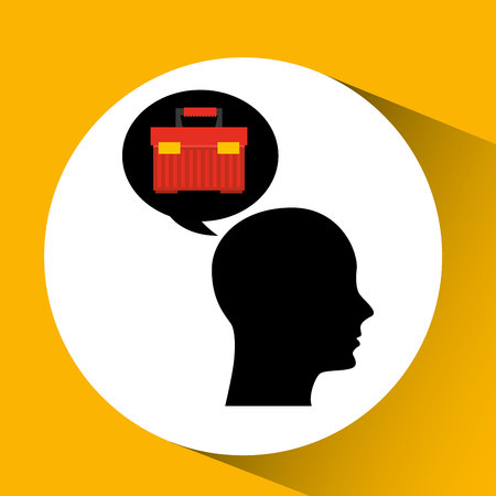 head silhouette black icon tool box vector illustration Illustration