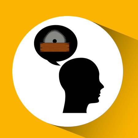 sawmill: head sihouette sawmill construction vector illustration
