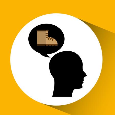 head silhouette black icon boot vector illustration