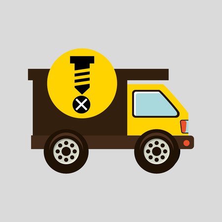 bolts and nuts: construction gear icon screw fixing vector illustration Illustration