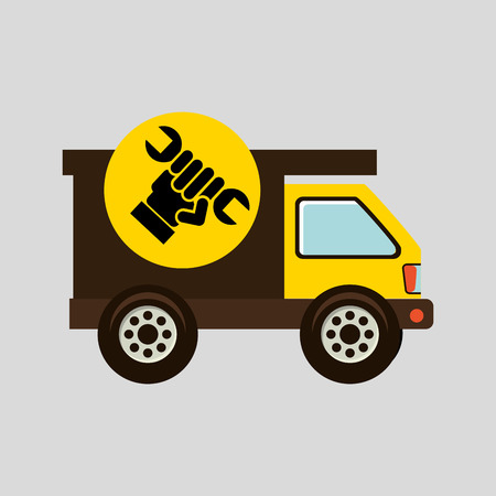 construction gear icon hand wrench vector illustration Illustration