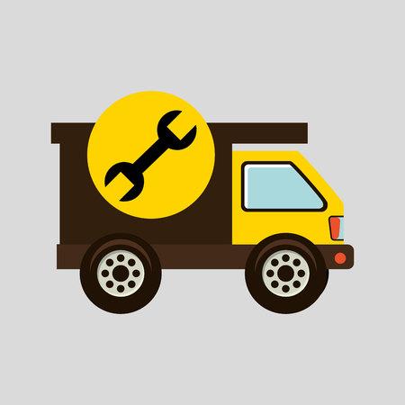 construction gear icon spanner vector illustration Illustration