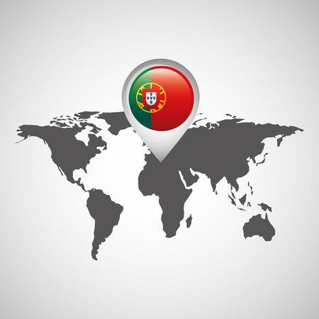 portugal flag: portugal flag pin map design vector illustration Illustration