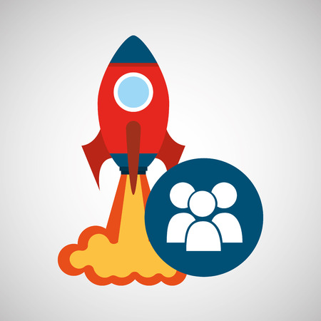 rocket launch start up business group person graphic vector illustration