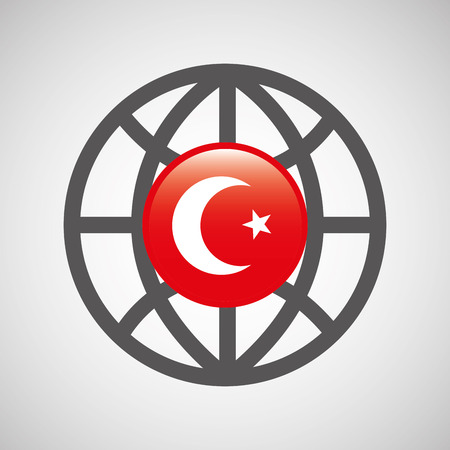 globe sphere flag turkey country button graphic vector illustration