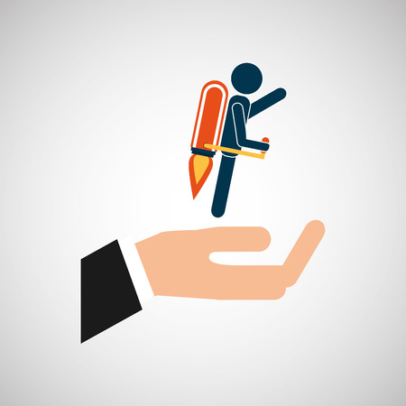 bowing: hand business growth man silhouette vector illustration