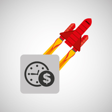 flexible business: red rocket concept business time money vector illustration Illustration