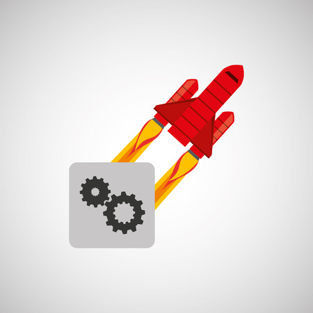 red rocket concept business teamwork cooperation vector illustration