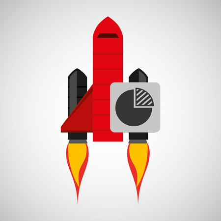 red rocket concept business strategy plan vector illustration