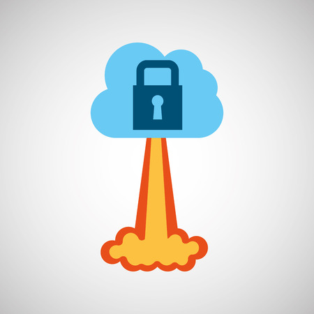 host: start up business cloud protection graphic isolated vector illustration Illustration