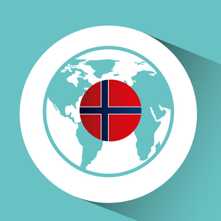 norway flag pin map design icon vector illustration