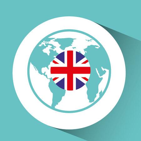bandera de gran bretaña: gran mapa pin de la bandera Diseño de la ilustración del vector del icono Bretaña