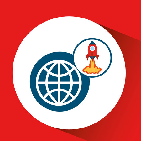 science symbols metaphors: rocket launch start up business globe graphic vector illustration Illustration