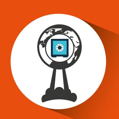 up code: business global start up box safe icon vector illustration Illustration