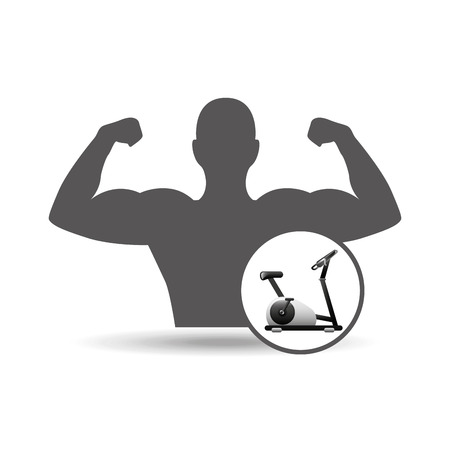 static: fitness silhouette static bike gym graphic vector illustration Illustration