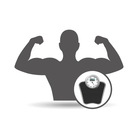 to weigh: fitness silhouette weigh scale gym graphic vector illustration