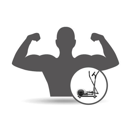 eliptica: fitness silhouette elliptical machine gym graphic vector illustration