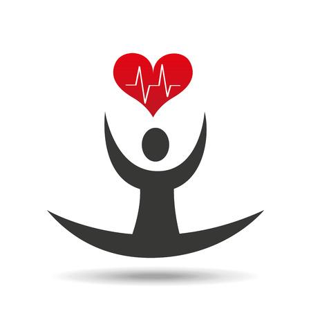 flexible: athlete silhouette flexible heart beat vector illustration Illustration