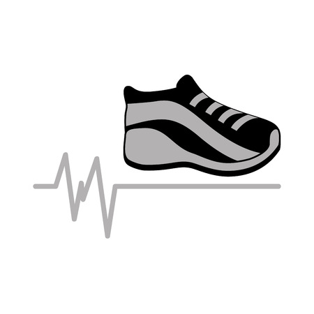 walk away: sneaker gray icon sport design graphic vector illustraion Illustration