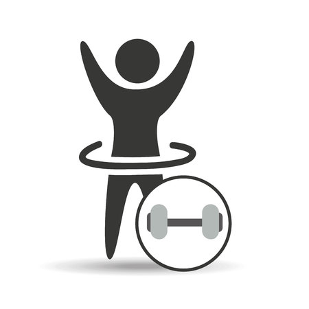 man hand up silhouette with barbell icon design vector illustration