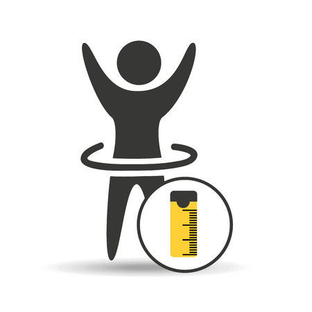 man hand up silhouette measure tape icon design vector illustration Illustration