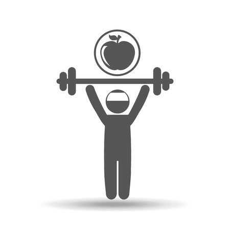 abdominal muscle exercises: man lifting barbell vector illustration Illustration