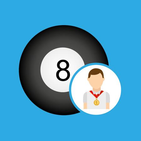 bola de billar: atleta piscina medalla de icono de la bola ejemplo gráfico del vector