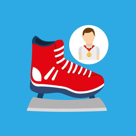 athlete medal ice skate icon graphic vector illustration Illustration