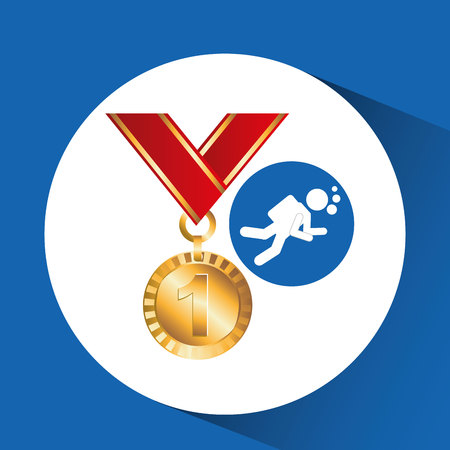 extreme sport avatar diving and medal vector illustration eps 10