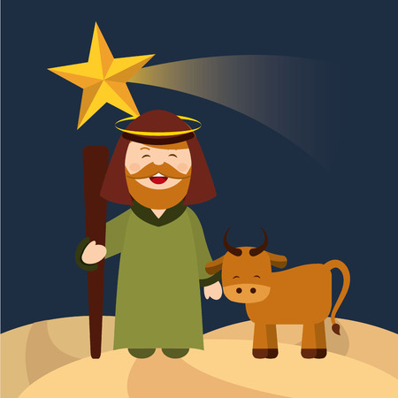happy merry christmas manger character vector illustration design Illustration