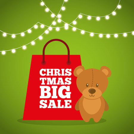 christmas toy: merry christmas sale with shopping bag vector illustration design