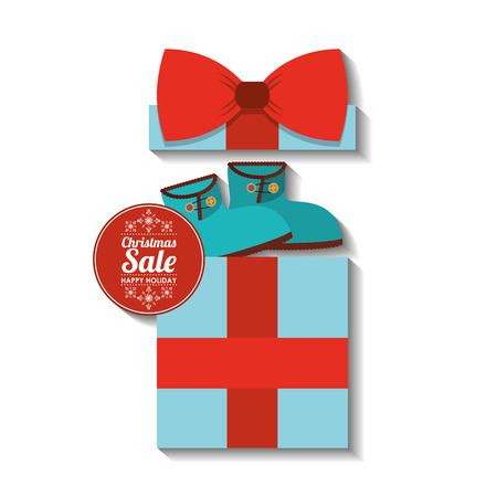 merry christmas sale with gift box vector illustration design Illustration