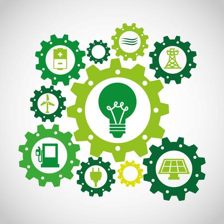 global settings: ecological alternative energy green vector illustration design Illustration