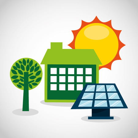 solar home: ecological alternative energy green vector illustration design Illustration