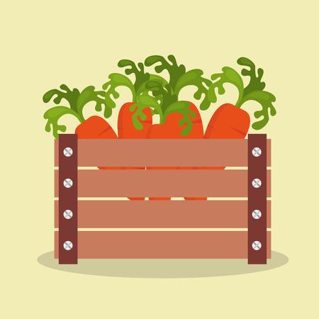 progettazione dell'illustrazione di vettore dell'icona di legno della merce nel carrello delle verdure