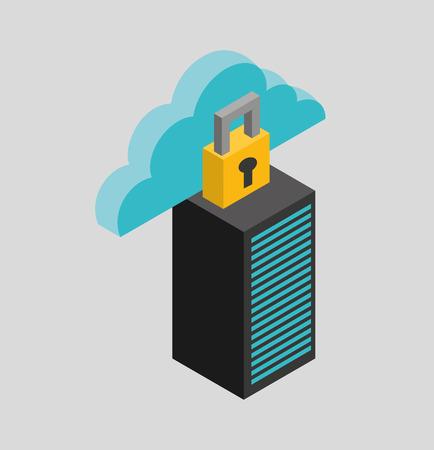 network server: cloud computing data storage vector illustration design