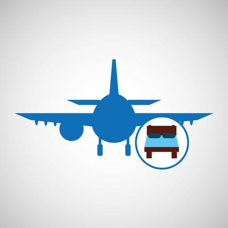 travel concept. bed sleep hotel. silhouette blue plane. design, vector illustration  graphic