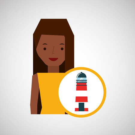 tourist girl cartoon lighthouse design, vector illustration  graphic