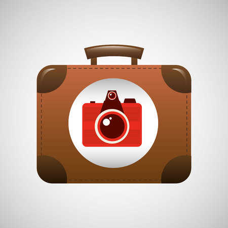 suitcase vintage camera photograpy. travel concept design, vector illustration  graphic