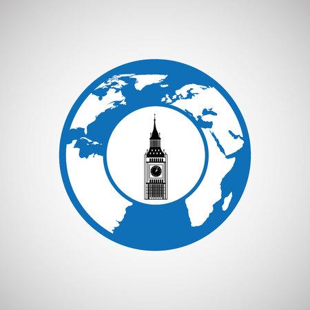 traveling world london monument design, vector illustration  graphic Illustration