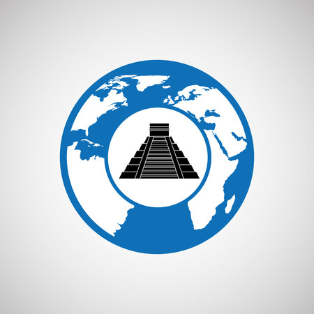 kukulkan: traveling world mexico monument design, vector illustration  graphic