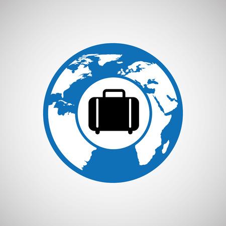 世界のスーツケース デザイン、ベクトル イラストレーション グラフィックを旅行