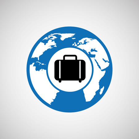 traveling world suitcase design, vector illustration  graphic Çizim