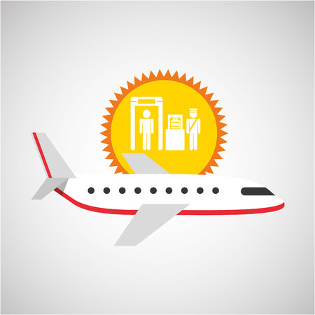 plane white sun symbol travel check baggage airport design, vector illustration  graphic