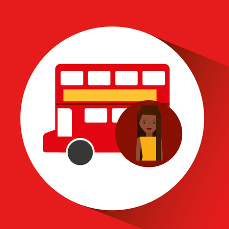 woman cartoon traveler london. red bus icon. design, vector illustration  graphic