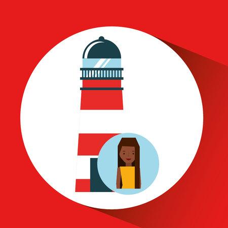 girls at the beach series: tourist girl cartoon lighthouse design, vector illustration  graphic