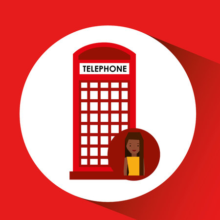 red telephone box: girl cartoon travel london box red telephone design, vector illustration  graphic